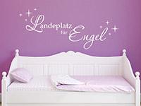 Süßes Wandtattoo Landeplatz für Engel in weiß im Mädchenzimmer