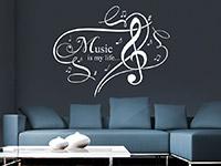 Wandtattoo Music is my life... im Wohnzimmer