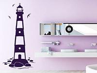 Wandtattoo Nordsee Leuchtturm im Bad