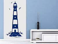 Leuchtturm Wandtattoo in blau