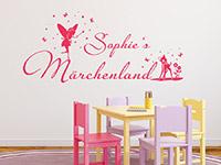 Wunschnamen Wandtattoo Märchenland im Kinderzimmer