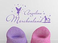 Mädchen Wandtattoo Märchenland mit Name in lavendel