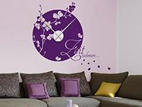 Blüten Wandtattoo Uhr Zeit nehmen ... in violett