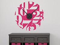 Zahlenspiel Wandtattoo Uhr in pink