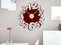 Wanduhr Wandtattoo Uhr Verspielte Zahlen in rot