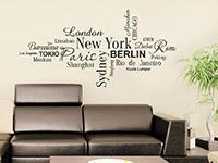 Städte Wandtattoo Weltstädte in verschiedenen Schriften auf heller Wand