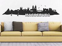 Skyline Wandtattoo Magdeburg im Wohnzimmer
