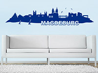 Magdeburg Skyline als Wandtattoo in Farbe