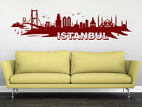 Istanbul Wandtattoo Skyline in rot auf heller Wand