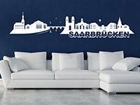 Skyline Saarbrücken Wandtattoo in weiß auf dunkler Wand