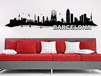 Skyline Wandtattoo Barcelona im Wohnzimmer