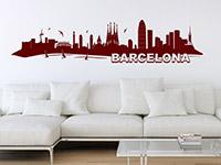 Skyline Barcelona Wandtattoo in Farbe