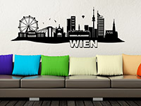 Skyline Wien als Wandtattoo auf heller Wandfläche