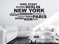 Wandtattoo Ihre Stadt im Wohnzimmer