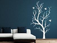 Zweifarbiges Baum Wandtattoo in weiß