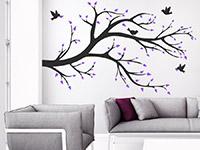 Wandtattoo Zweifarbiger Ast mit Vögeln im Wohnzimmer