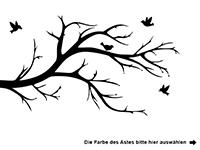 Wandtattoo Zweifarbiger Ast mit Vögeln Motivansicht