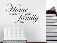 Wandtattoo Home is where your family im Flur