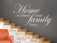 Spruch Wandtattoo Home is where your family in weiß
