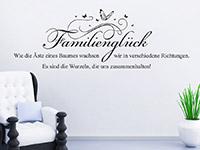Spruch Wandtattoo Familienglück auf heller Wandfläche