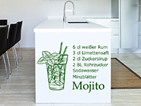Mojito Cocktail Wandtattoo in der Küche