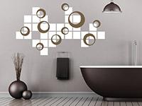 Retro Ornament Wandtattoo Retro Kreise mit Quadraten auf dunkler Grundfläche