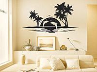 Wandtattoo Insel mit Delfinen im Wohnzimmer