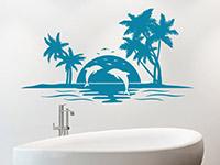 Wandtattoo Insel mit Delfinen als Dekoidee im Bad