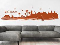 Mallorca Wandtattoo in Farbe über der Couch