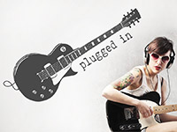 Gitarren Wandtattoo Plugged in als stylische coole Wanddekoration