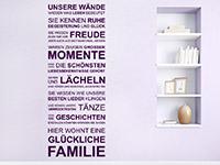Spruch Wandtattoo Unsere Wände wissen in Farbe