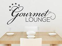 Elegantes Wandtattoo Gourmet Lounge auf heller Wand