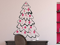 Zweifarbiges Wandtattoo Tannenbaum mit Kugeln und Sternen in grau und pink