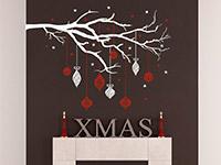 Wandtattoo Zweifarbiger Weihnachtsast mit Kugeln | Bild 3