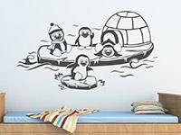 Wandtattoo Lustige Pinguine im Kinderzimmer in grau