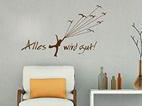 Wandtattoo Spruch Aalles gut im Wohnzimmer in braun