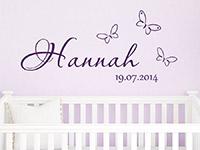 Wandtattoo Baby Name mit Schmetterlingen und Wunschdatum | Bild 2