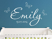 Wandtattoo Baby Name mit Schmetterlingen und Wunschdatum | Bild 3