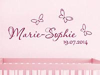 Wandtattoo Baby Name mit Schmetterlingen und Wunschdatum | Bild 4
