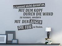 Wandtattoo Spruch Mit dem Kopf durch die Wand im Wohnzimmer