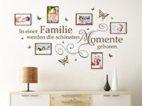 Fotorahmen Wandtattoo In einer Familie über einer Kommode
