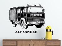 Wandtattoo Feuerwehrauto mit Name | Bild 2