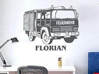 Wandtattoo Feuerwehrauto mit Name | Bild 3