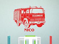 Wandtattoo Feuerwehrauto mit Name | Bild 4