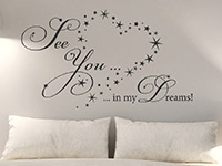 Sterne Wandtattoo See you in my dreams auf heller Wand
