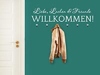 Willkommen Wandtattoo Garderobe Freunde in weiß