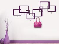Garderoben Wandtattoo Retro Quadrate in Farbe auf heller Wand