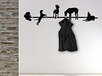 Süße Wandtattoo Garderobe Hunde im Flur in schwarz