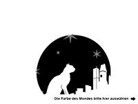 Wandtattoo Mond mit Katze und Sternen Motivansicht