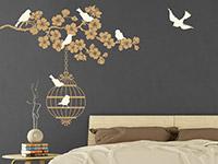 Wandtattoo Blütenzweig mit Vogelkäfig | Bild 2